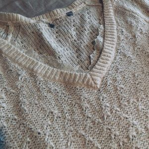 Free People lace trim cream sweater